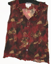 WOMEN'S RED PRINTED 100% SILK BUTTON DOWN BLOUSE SIZE 10 - $8.00