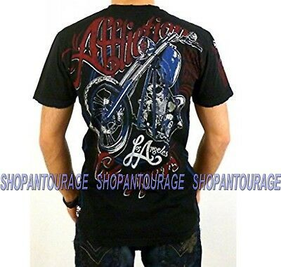 Primary image for Afflicton LA Choppers A6882 Men`s New Black Graphic Fashion Skull Moto T-shirt