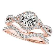 14K Rose Gold Over Silver Round-Cut CZ Dia Bridal Curved Wedding Halo Ring Set - $119.99