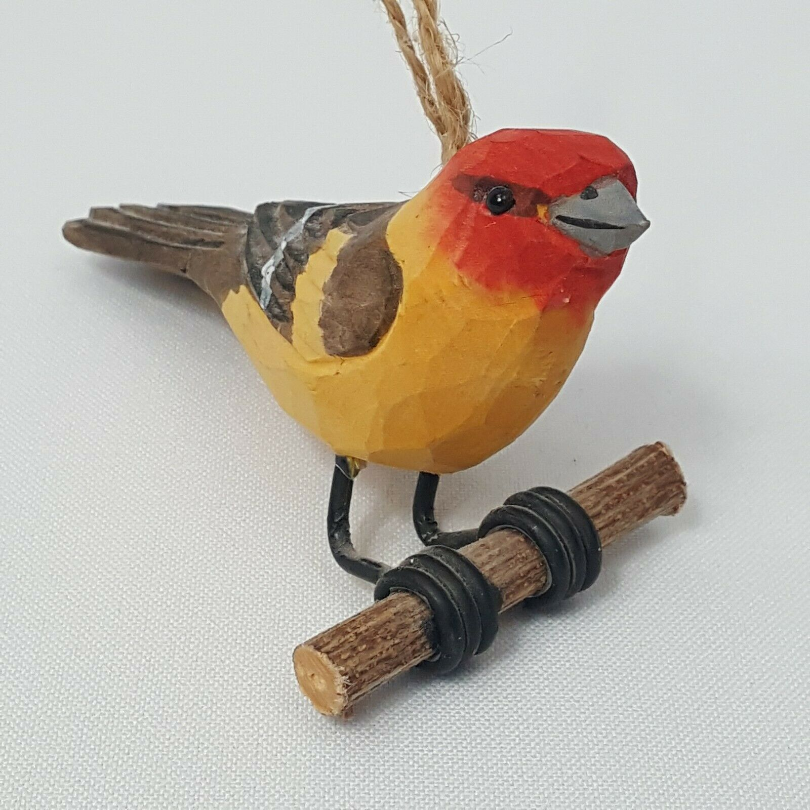 Carved Wood Bird Western Tanager Hanging Ornament Red Head Yellow Body Perched image 2
