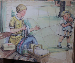 Vintage Puzzle Mother & Baby & Dolly Going on a Picnic In the Style of D... - $34.65