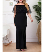 Black Plus Size Full Length Formal Dress - Semi Sheer Short Sleeves - $23.00