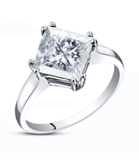 Solitaire Princess Cut White Cz 14K White Gold Plated 925 Silver Engagem... - $55.10