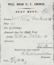Well Road U. F. Church 1924 One Years Pew Seat Rent Oct to Oct Receipt R... - $7.59