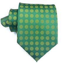 Wide Necktie silk polka dot green Morgana Made in Italy business / wedding  - $40.00