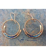Medium copper spiral hoops blue crystal beads main thumbtall
