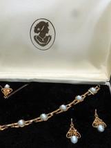 Necklace Earrings & Bracelet Cameo Jewelry set Light Blue & White gold tone - $14.85