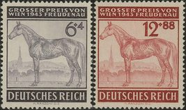 1943 Horse Race Set of 2 Germany Postage Stamps Catalog Number B244-45 MNH