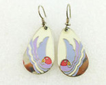 "LAUREL BURCH ""Sea Bird"" Enamel Silver-Tone Drop Dangle Hook EARRINGS - FREE SHIP"