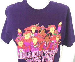Red Hat Society T-Shirt Small Purple Ladies Girls Just Want to Have Fun S - $20.60