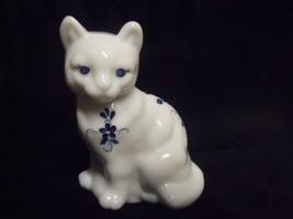 Vintage White Fenton Porcelaind Hand Painted Cat Figurine ~ Signed D. Andrea - $44.55