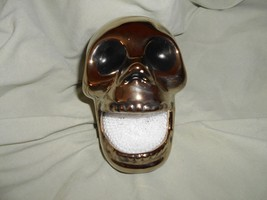 CERAMIC HALLOWEEN SKULL SOAP / SCRUB PAD HOLDER - $12.50
