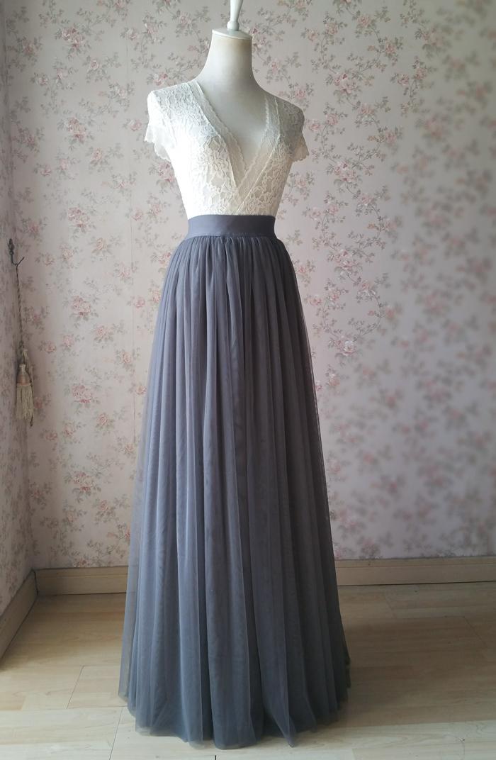 Gray maxi skirt tulle 04