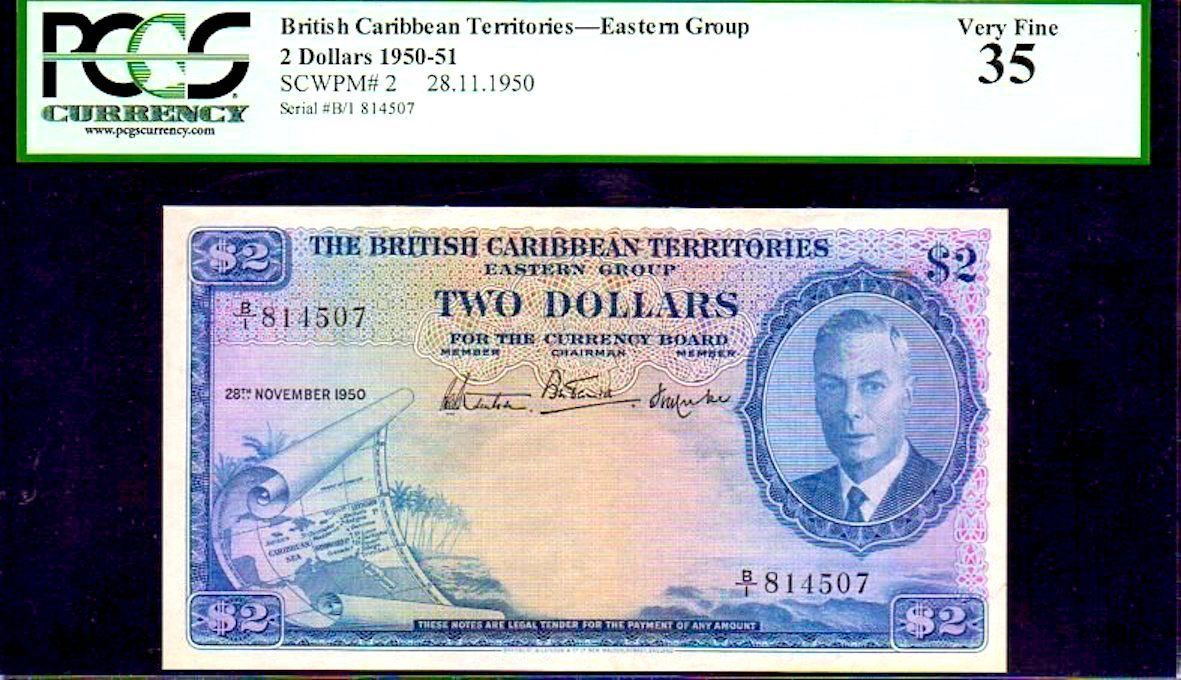 "Primary image for BRITISH CARIBBEAN TERRITORIES P2  ""MAP NOTE"" $2 1950 PCGS 35 ""KING GEORGE Vth"""