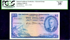 "BRITISH CARIBBEAN TERRITORIES P2  ""MAP NOTE"" $2 1950 PCGS 35 ""KING GEORG... - $1,750.00"