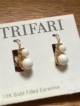 Estate Trifari Goldtone w Two White Bead Dangle Earrings for Pierced Ears – 0.5  - $10.39