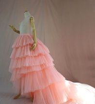 High Low Tiered Tulle Skirt Layered Tulle Skirt with Train Blush Bridal Gowns image 1