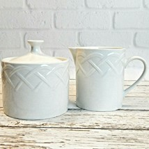 Oneida White Picnic Pattern Embossed Lidded Sugar Creamer Set Discontinued - $14.99