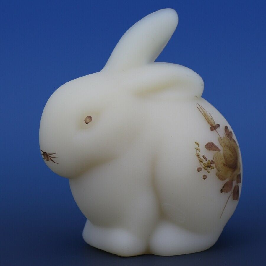 Fenton Art Glass Chocolate Rose on Cameo Satin c.1982 Bunny Rabbit