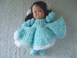 """Vintage Plastic Doll With Crocheted Dress """" BEAUTIFUL COLLECTIBLE DISPLA... - $15.88"""