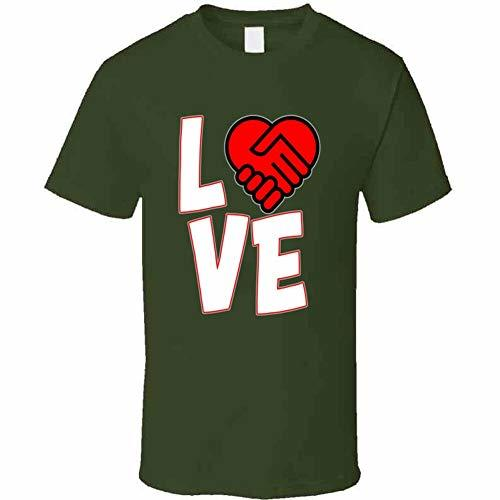Love is A Deal Heart T Shirt L Military Green