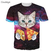Cloud 21 s S-3XL 3D T-Shirt Short Sleeve Cat Eatig Pizza i Space ed Tshi... - £20.00 GBP+