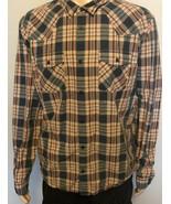 Men's Patagonia Long Sleeve Button Front Plaid Shirt XL Orange Tan Navy ... - $29.02