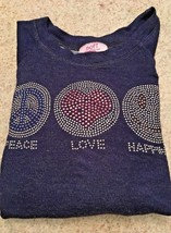 "Girl's Sofi Rayon/Spandex Navy Long Sleeve ""Peace-Love-Happiness"" Top (5) - $11.30"