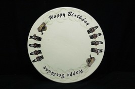 Vintage Enesco Happy Birthday Cannon w Soldiers Pedestal Cake Stand Plate E-4207 - $29.69