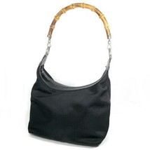 GUCCI Gucci Bamboo Hand Bag One Shoulder Black Nylon Free Shipping Don't... - $146.99