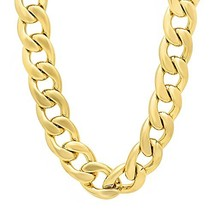 The Bling Factory Men's 18mm 14k Gold Plated Cuban Link Curb Chain Neckl... - $82.98