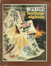 Patons Heritage Afghans Beehive Knit Crochet Pattern Book 501 Very Used - $3.99