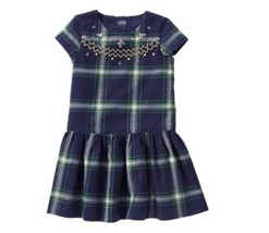 Gymboree Nwt All Spruced Up Gems Green Embroidery Plaid Drop Dress Size 7 Girls - $15.14