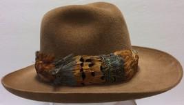 Vtg Stetson Imperial Gun Club Camel Tan Fedora Sz 6 3/4 Feathers Duck Hunting - $105.18