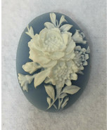 """Brooch Pin Cameo Raised Flower Floral White on Blue Oval Plastic 1.5"""" Vi... - $9.89"""