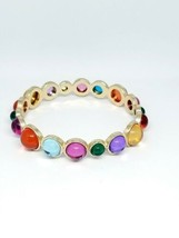 Multi-color Plastic Cabochon Gold Tone Bangle Bracelet - $19.79