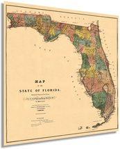 1856 Florida State Wall Map - Vintage Map Wall Art - Vintage Florida Map Poster  - $32.99+