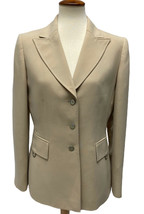 Women's Tahari Arthur S Levine Blazer Beige Button Jacket sz 8 - $22.67