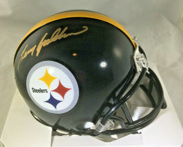 TERRY BRADSHAW / NFL HALL OF FAME / AUTOGRAPHED STEELERS LOGO MINI HELMET / HOLO image 1