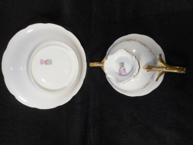Vintage T & V Limoges France Cream Soup Footed Bowl and Underplate Saucer