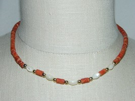 VTG Red Sponge Natural Coral Mother of Pearl Gold Tone Bead Choker Necklace - $74.25