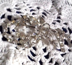 Vintage Signed Made in Austria Clear Rhinestone Spray Pin Brooch - €12,82 EUR