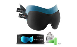 2 Contoured Memory Foam Eye Mask, Ear Plugs and Silk Travel Pouch - $27.60 CAD