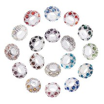 PH PandaHall 108PCS 18 Colors Platinum Rhinestone Large Hole European Be... - $27.35