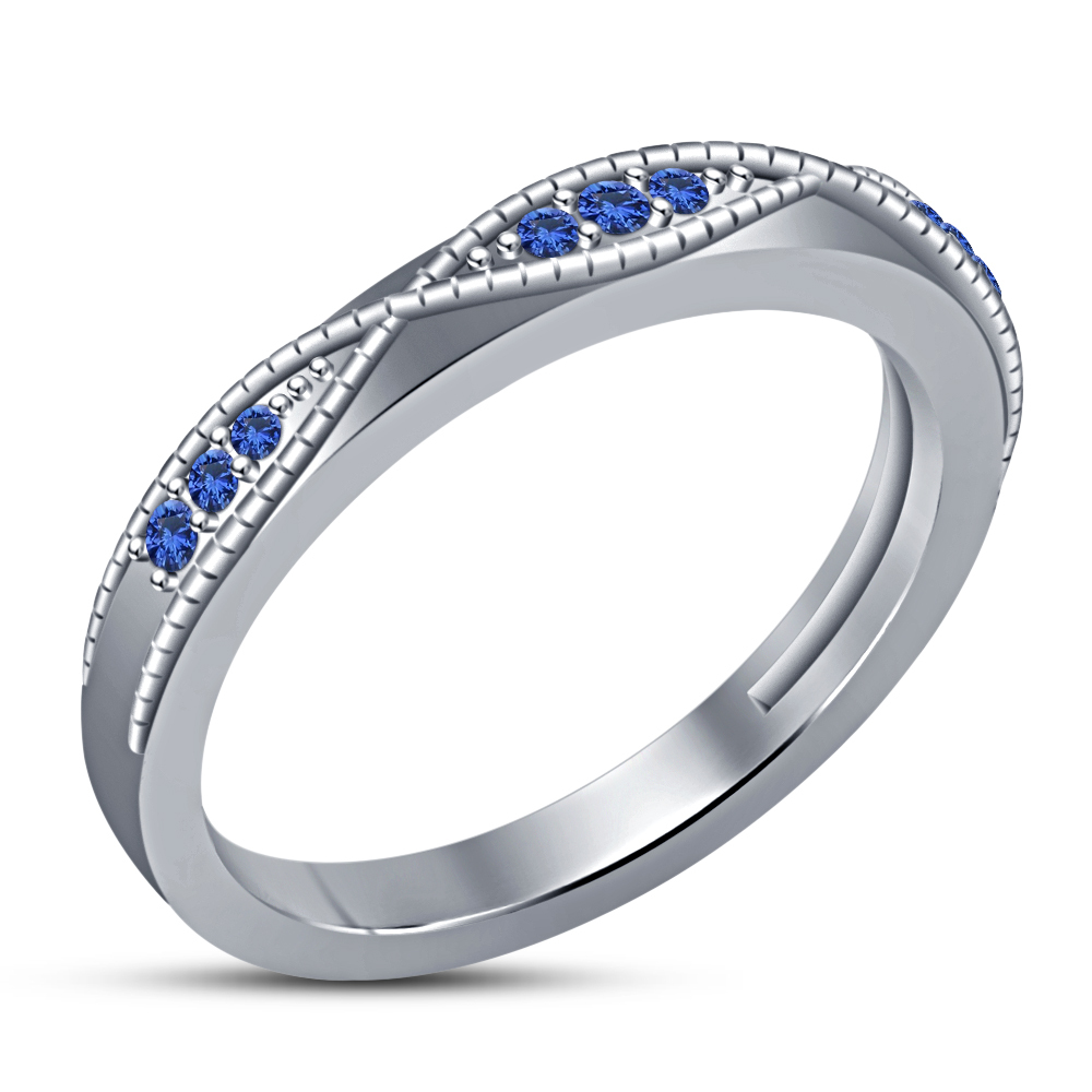 Round Cut Blue Sapphire Bridal Wedding Ring Set 14k White Gold Plated 925 Silver