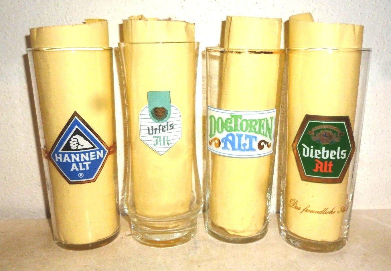 4 Hannen Urfels Doctoren Diebels Altbier German Beer Glasses
