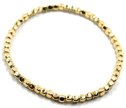 """SOLID 18K YELLOW GOLD ELASTIC BRACELET, CUBES DIAMETER 3 MM 0.12"""", MADE IN ITALY image 1"""
