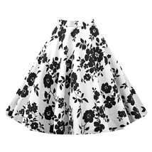 Hepburn Style Vintage Bubble Skirt A-line Pleated Skirt   white black - $26.99