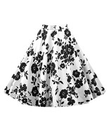 Hepburn Style Vintage Bubble Skirt A-line Pleated Skirt   white black - $26.99