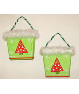 2 Holiday baskets 6.5w x 3d x 10.5h - cards, candy, figurines, decoratio... - $8.90